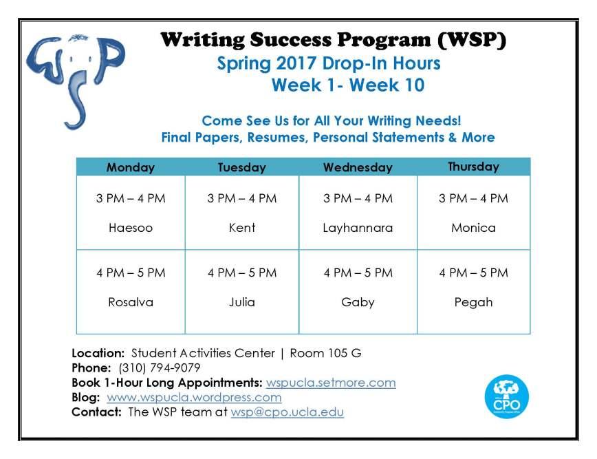 WSP Spring 2017 Drop Ins