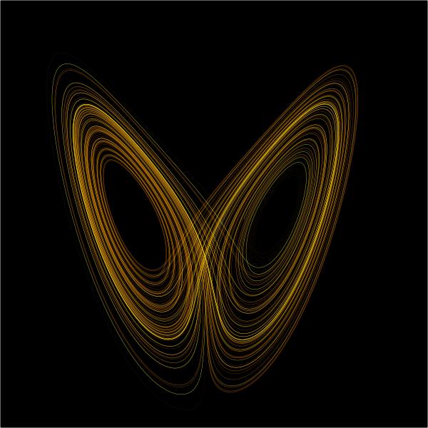 A plot of Edward Lorenz's strange attractor.