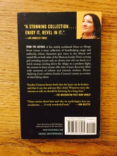 Back cover to the book with a picture of Cisneros in the corner.